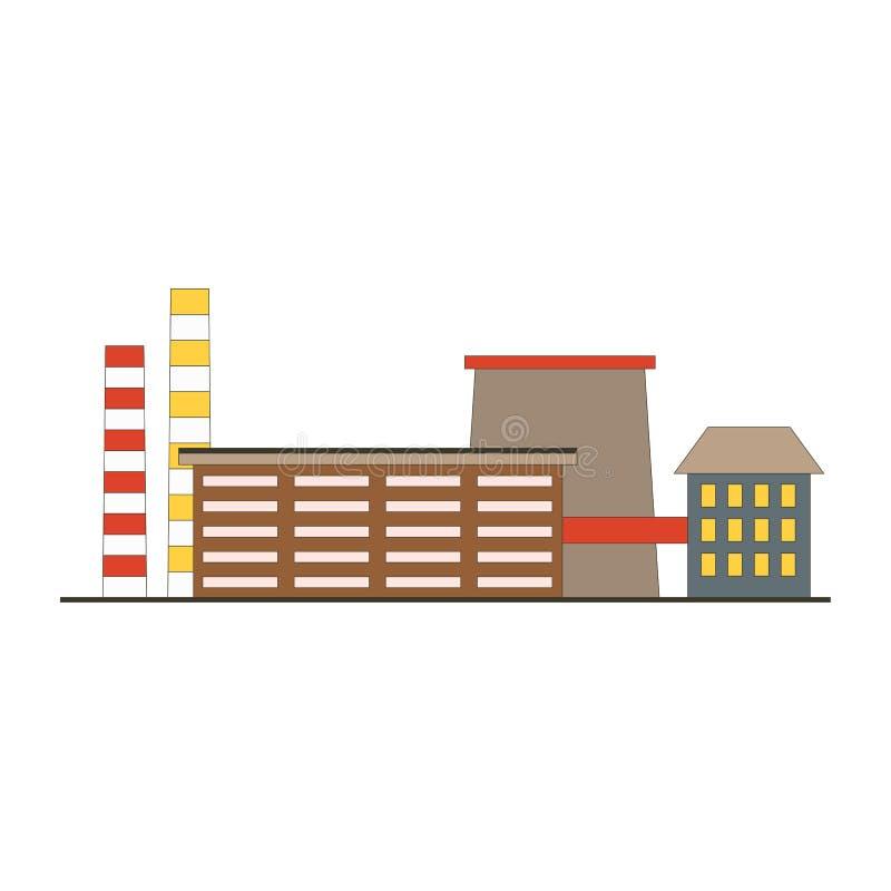 Icône du jeu APP de bâtiment d'usine dans le style plat Concept industriel de fabrication d'usine d'isolement sur le backgroun bl illustration stock