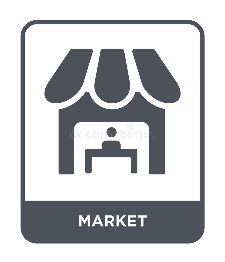 icône du marché dans le style à la mode de conception Icône du marché d'isolement sur le fond blanc symbole plat simple et modern illustration de vecteur