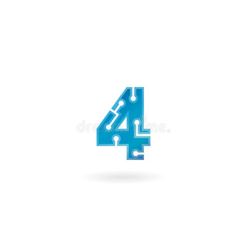 Icône du numéro 4 Le logo quatre futé, l'ordinateur et les données de technologie ont rapporté des affaires, de pointe et innovat illustration stock
