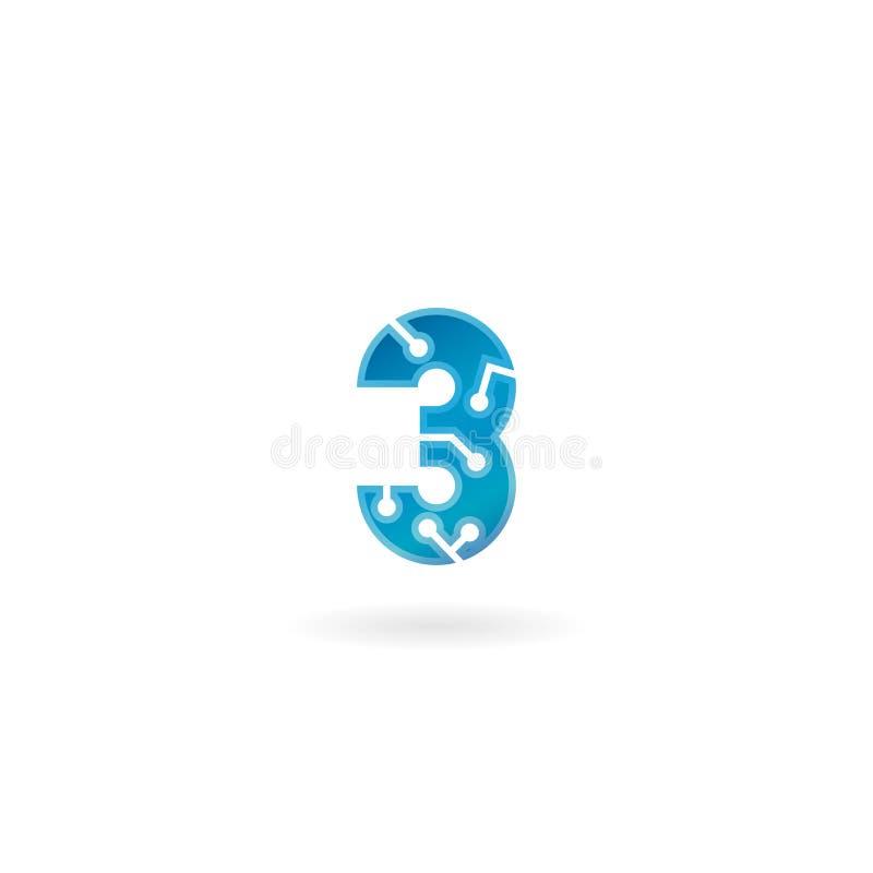 Icône du numéro 3 Le logo trois futé, l'ordinateur et les données de technologie ont rapporté des affaires, de pointe et innovate illustration de vecteur