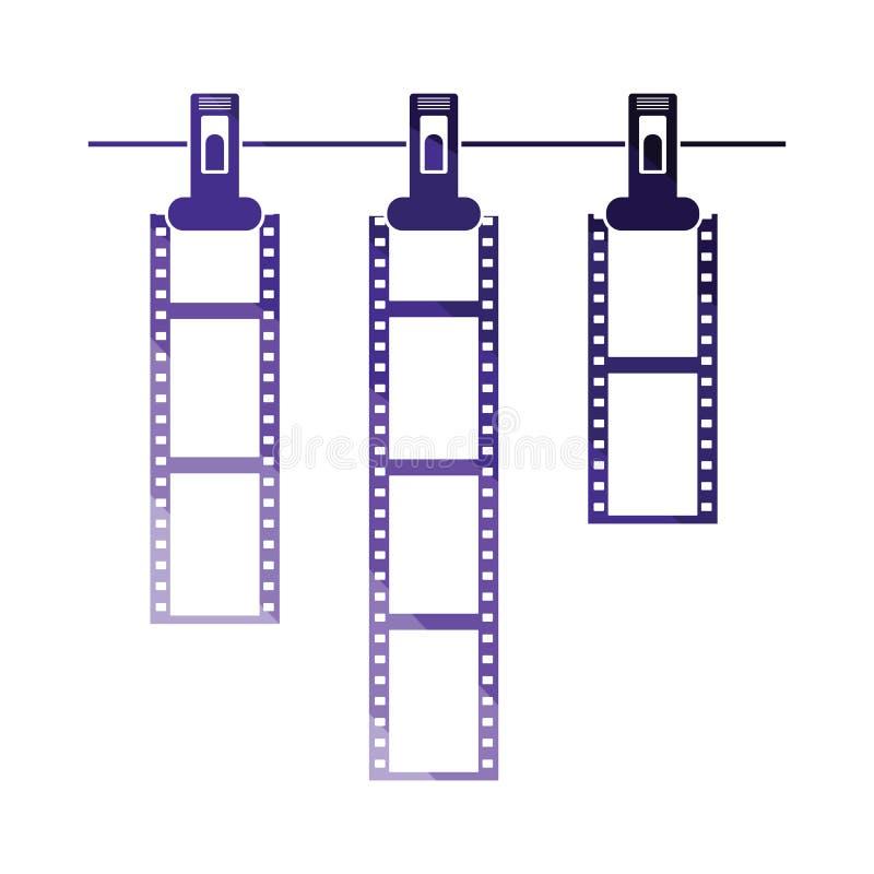 Icône du séchage de film de photo sur la corde avec la pince à linge illustration libre de droits