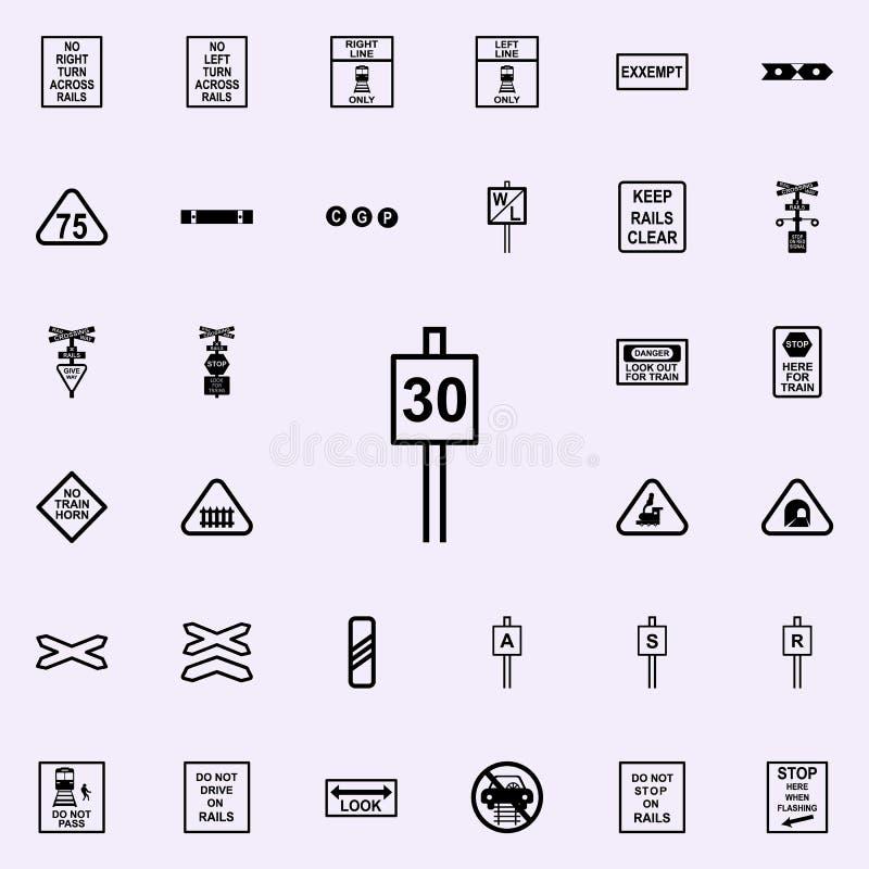 icône du signe 30 de limitation de vitesse Ensemble universel d'icônes ferroviaires d'avertissements pour le Web et le mobile illustration libre de droits