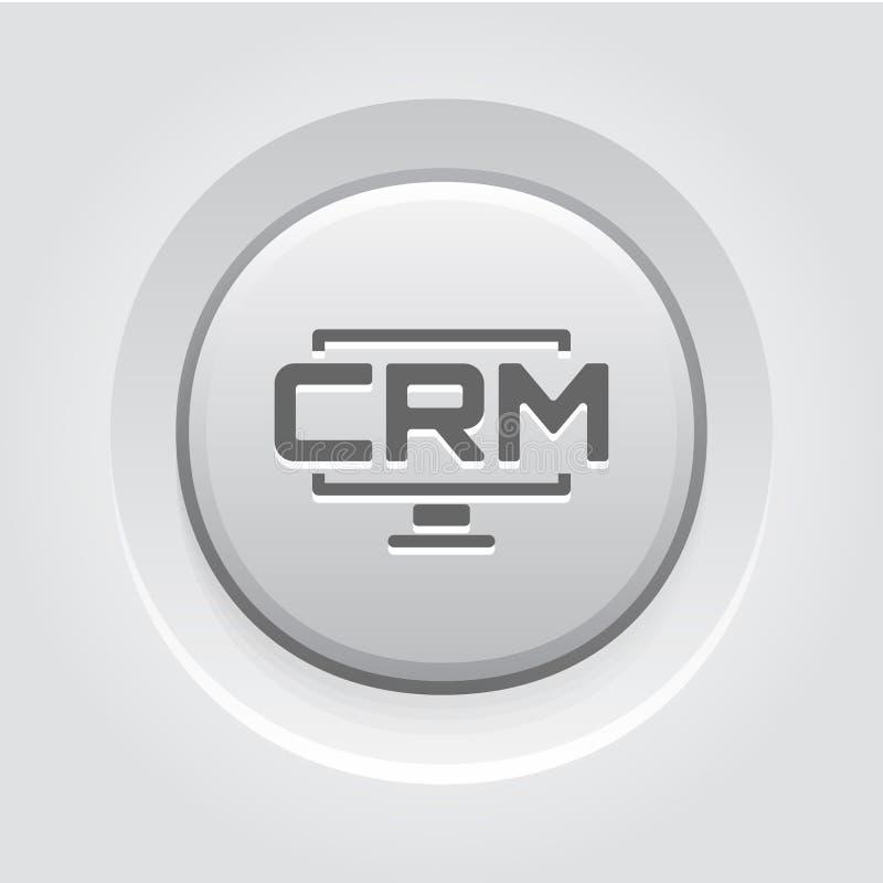 Icône du système CRM Desktop Conception de boutons gris illustration stock