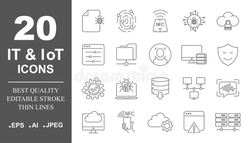 Icône du système d'exploitation de vecteur réglée dans la ligne style mince service informatique et icônes d'IoT, protection, rés illustration stock