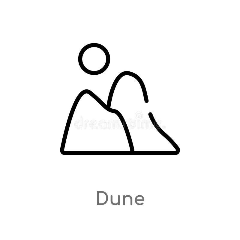 icône dunaire de vecteur d'ensemble ligne simple noire d'isolement illustration d'?l?ment de concept de nature icône dunaire de c illustration de vecteur