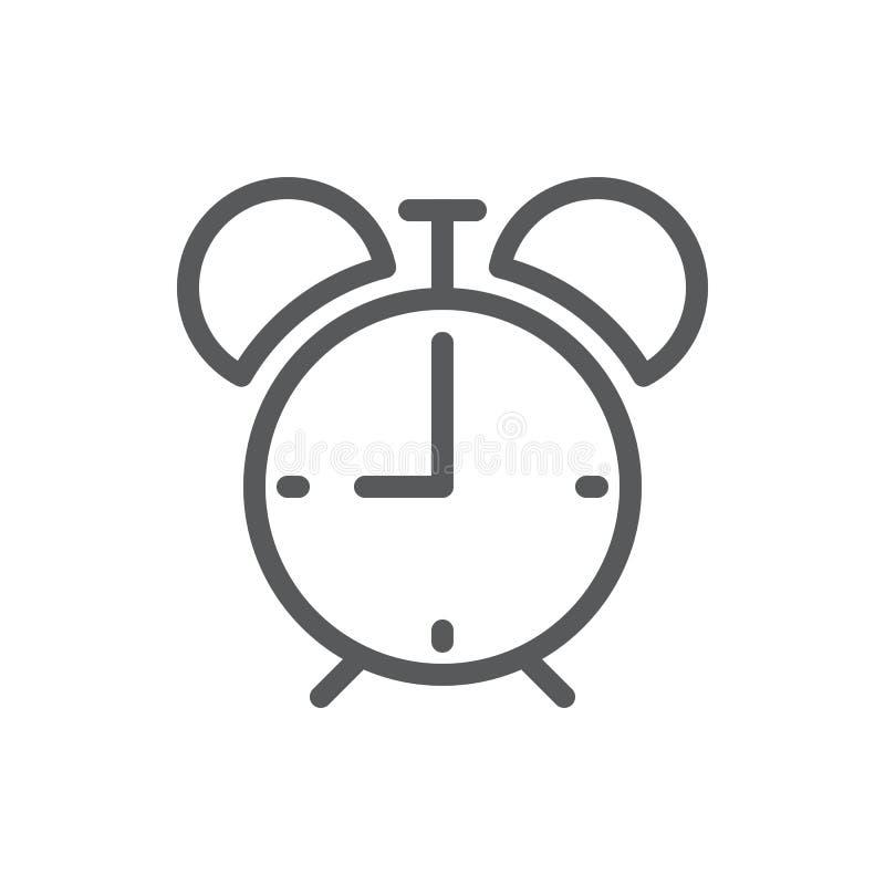 Icône editable d'illustration de vecteur de réveil - décrivez le pictogramme de la montre avec la cloche dans le rétro style illustration stock
