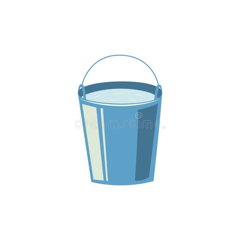 Icône en acier plate de seau d'eau de vecteur illustration stock