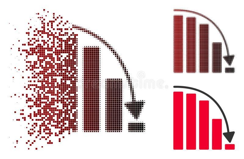 Icône en baisse tramée en mouvement de diagramme d'accélération de Pixelated illustration de vecteur