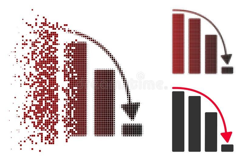 Icône en baisse tramée pointillée cassée d'histogramme d'accélération illustration stock