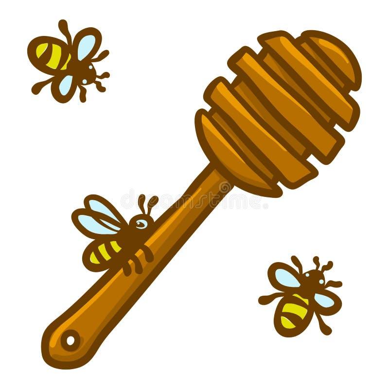 Icône en bois de cuillère de miel, style tiré par la main illustration stock