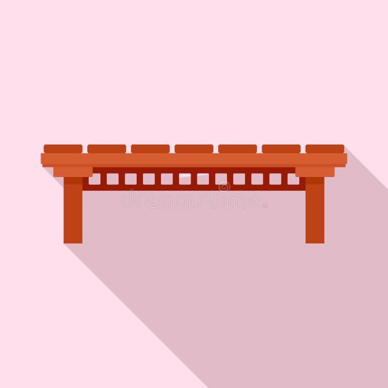 Icône en bois de pont de rivière, style plat illustration stock