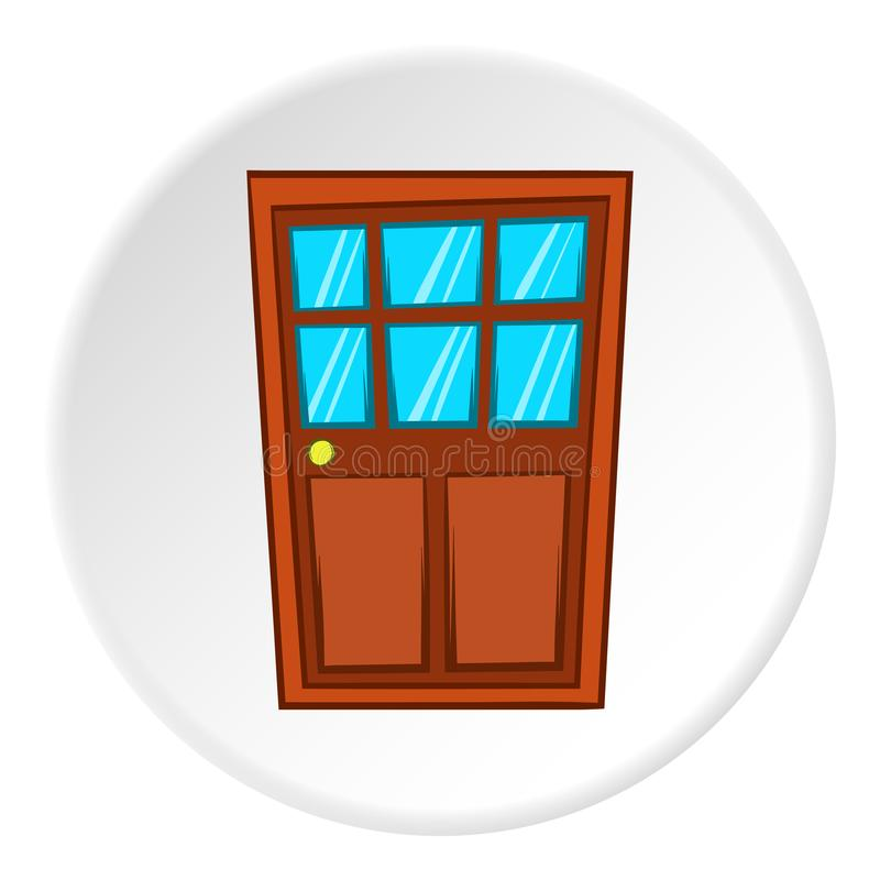 Icône en bois de porte intérieure, style de bande dessinée illustration de vecteur