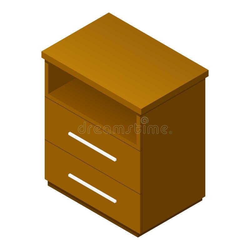 Icône en bois de tiroir, style isométrique illustration de vecteur