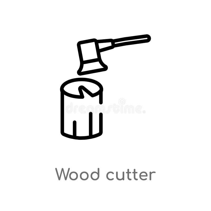 ic?ne en bois de vecteur de coupeur d'ensemble ligne simple noire d'isolement illustration d'?l?ment de l'autre concept bois edit illustration de vecteur
