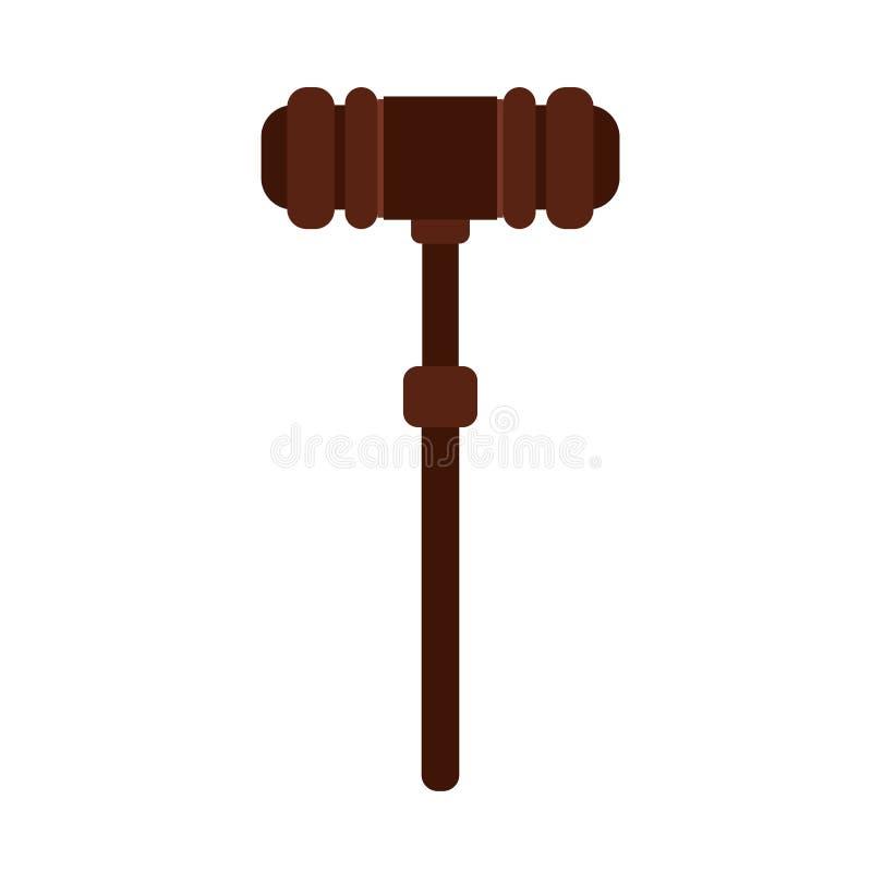 Icône en bois de vecteur de loi de système de décision de marteau de juge Élément coupable de jurisprudence de règle de marteau d illustration libre de droits