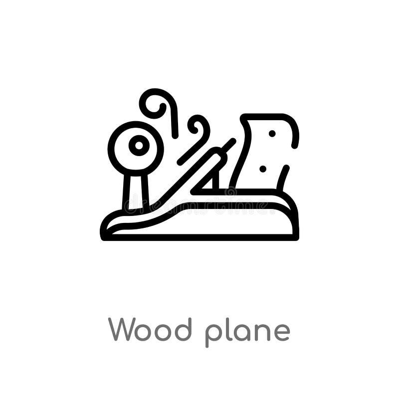 ic?ne en bois de vecteur plat d'ensemble ligne simple noire d'isolement illustration d'?l?ment d'architecture et de concept de vi illustration libre de droits