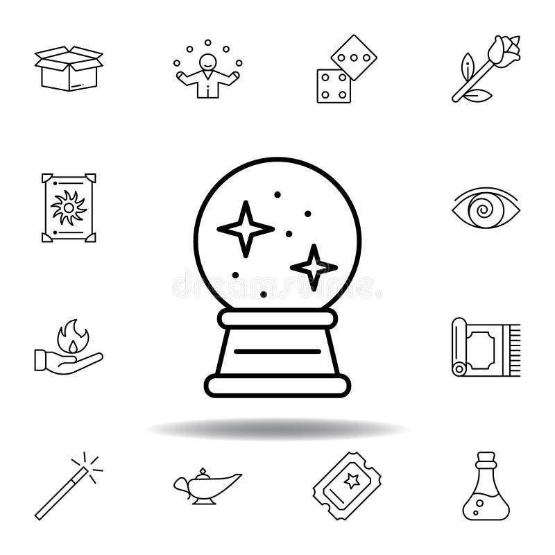 icône en cristal magique d'ensemble éléments de ligne magique icône d'illustration des signes, symboles peuvent être employés pou illustration libre de droits