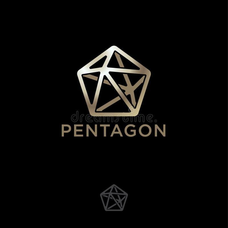 Icône en cristal polygonale Logo de Pentahedron cristal et lettres Cinq-aigus d'or illustration de vecteur