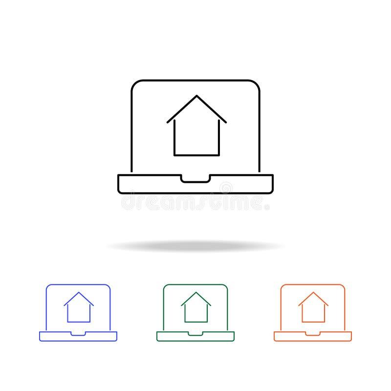 Icône en ligne d'achats de maison Éléments des immobiliers dans les icônes colorées multi Icône de la meilleure qualité de concep illustration de vecteur