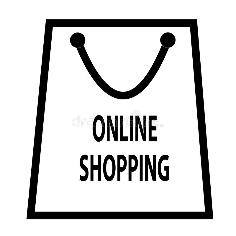 Icône en ligne d'achats d'isolement sur le fond transparent illustration libre de droits