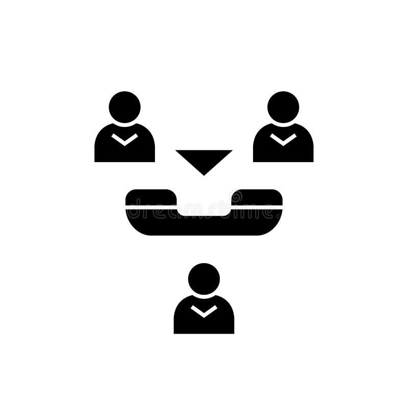 Icône en ligne de concept de vecteur de noir de réunion Illustration plate de réunion en ligne, signe illustration de vecteur