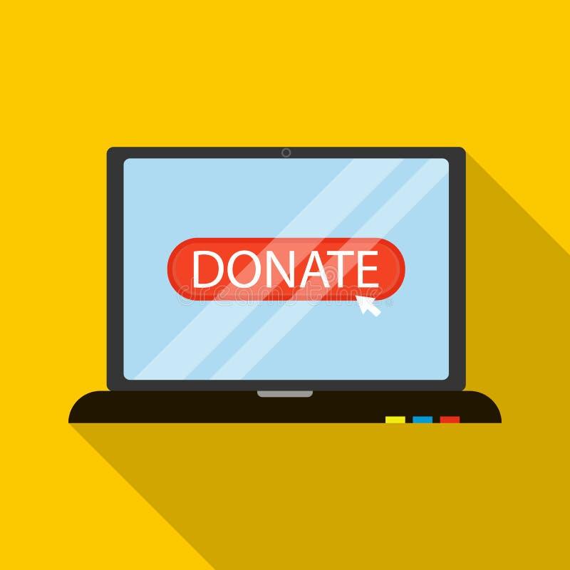 Icône en ligne de donation, style plat illustration libre de droits