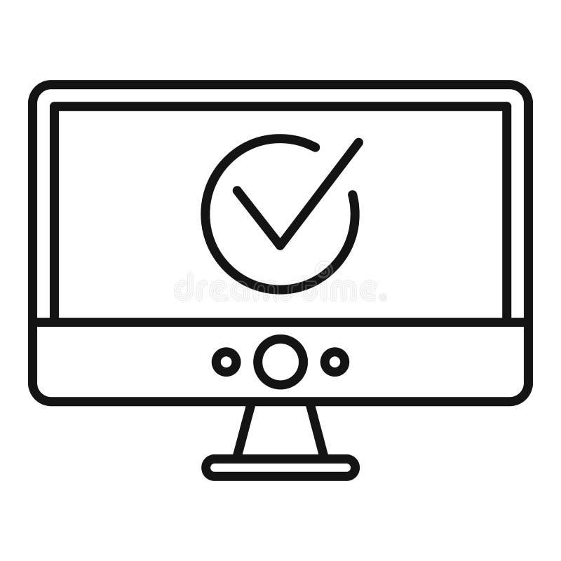 Icône en ligne de vote de moniteur d'ordinateur, style d'ensemble illustration stock