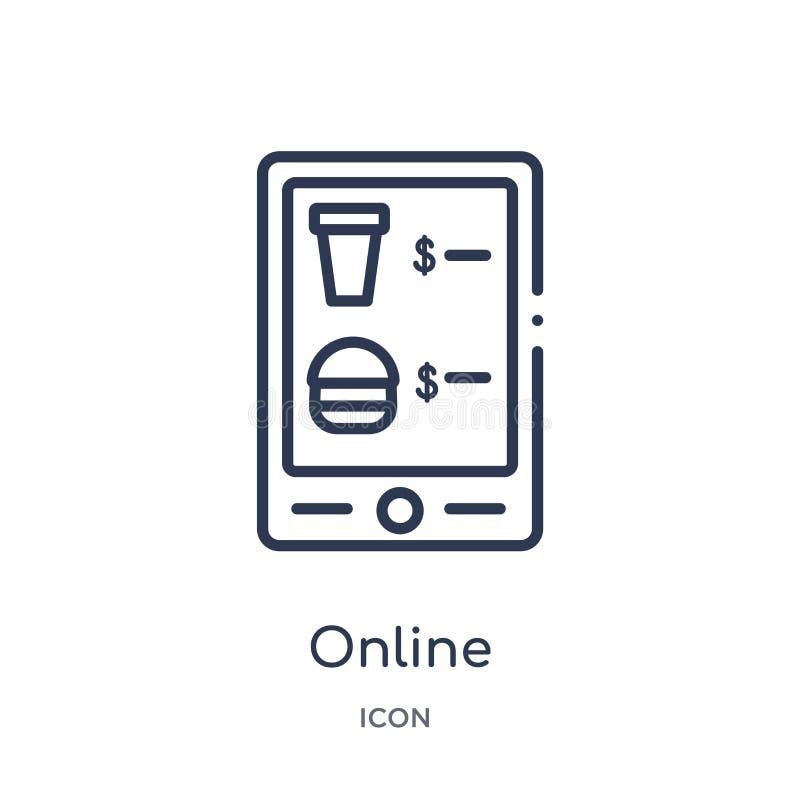 Icône en ligne linéaire de collection d'ensemble de prêt-à-manger Ligne mince vecteur en ligne d'isolement sur le fond blanc en l illustration stock