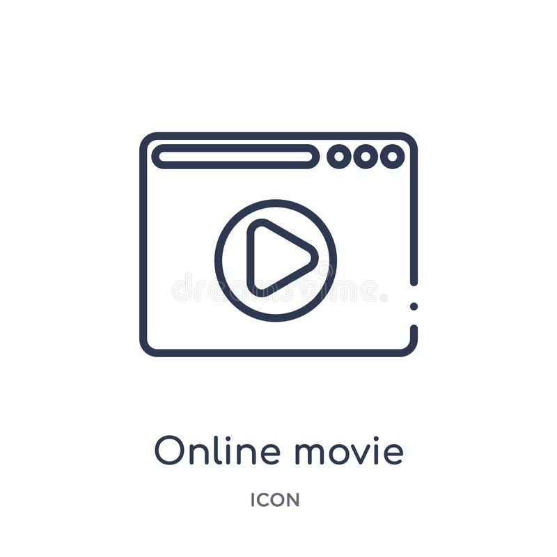 Icône en ligne linéaire de film de collection d'ensemble de cinéma Ligne mince vecteur en ligne de film d'isolement sur le fond b illustration libre de droits