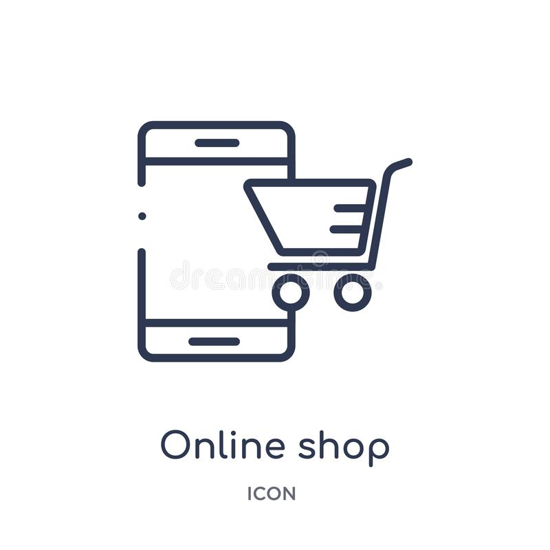 Icône en ligne linéaire de magasin de collection d'ensemble d'économie de Digital Ligne mince vecteur en ligne de magasin d'isole illustration de vecteur