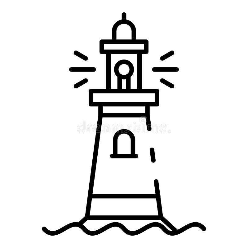Icône en pierre de phare, style d'ensemble illustration stock
