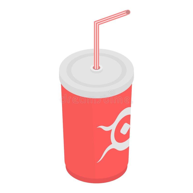 Icône en plastique de tasse de kola, style isométrique illustration de vecteur
