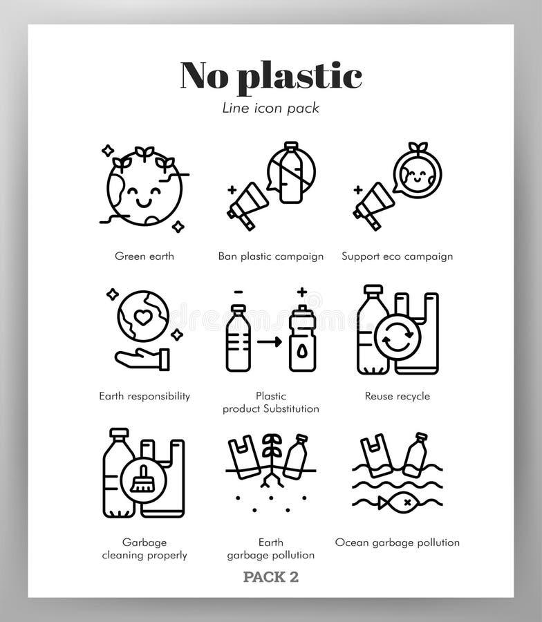Icône en plastique ne raye pas le paquet illustration stock