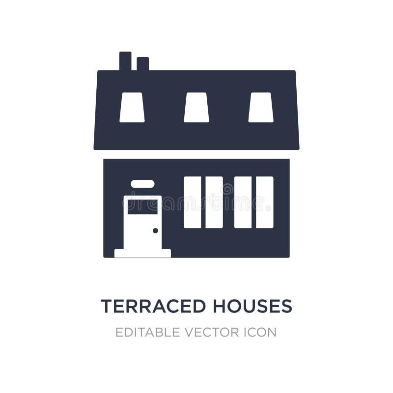 icône en terrasse de maisons sur le fond blanc Illustration simple d'élément de concept de bâtiments illustration stock