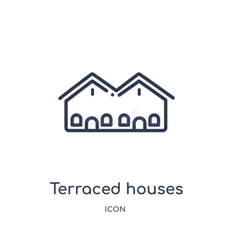 Icône en terrasse linéaire de maisons de collection d'ensemble de bâtiments Ligne mince icône en terrasse de maisons d'isolement  illustration libre de droits
