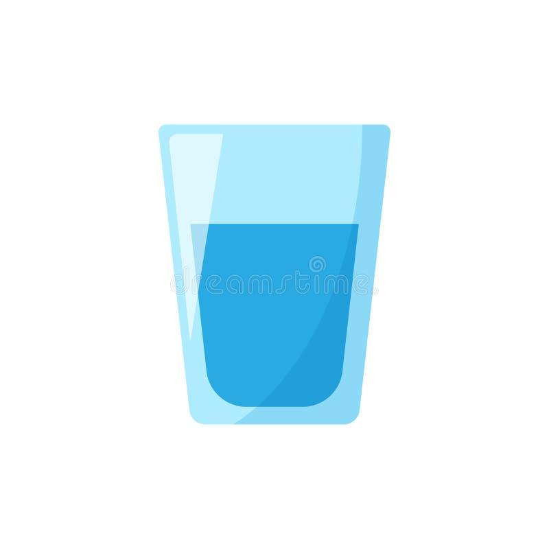 Icône en verre d'eau dans le style plat Illustration en verre o de vecteur de soude illustration libre de droits