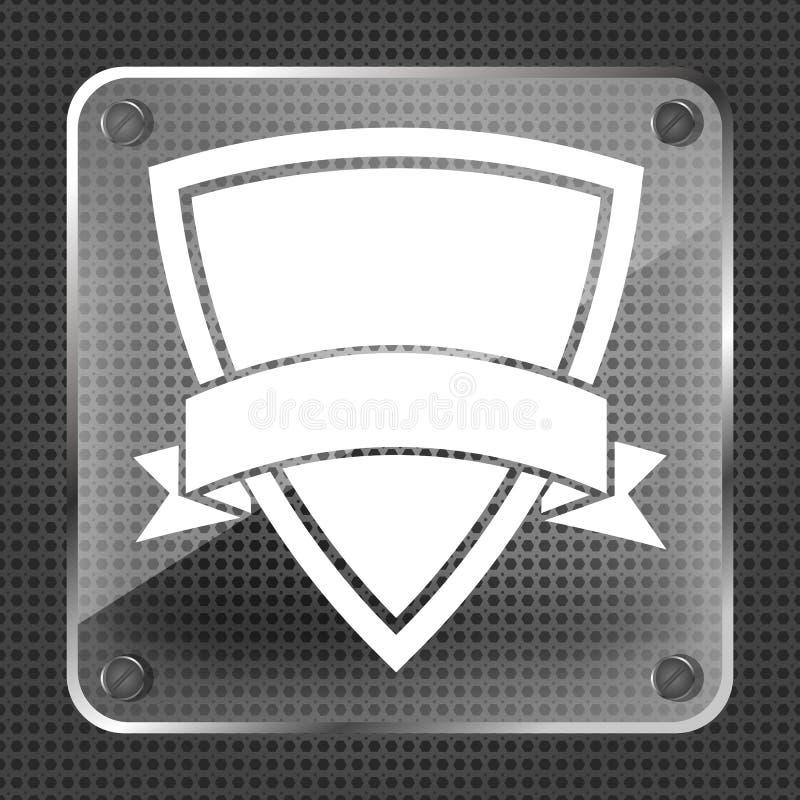 Icône en verre de bouclier avec le ruban illustration de vecteur
