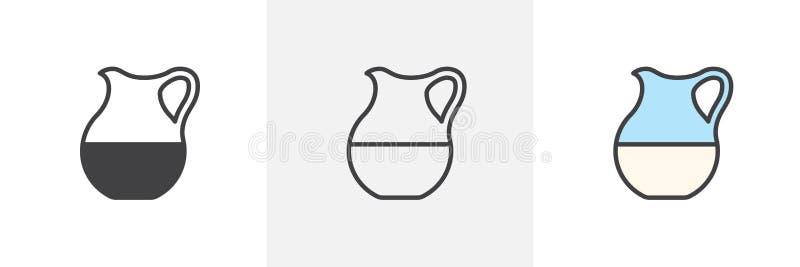 Icône en verre de cruche de lait illustration stock