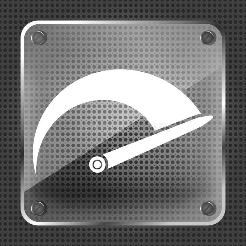 Icône en verre de tachymètre illustration stock