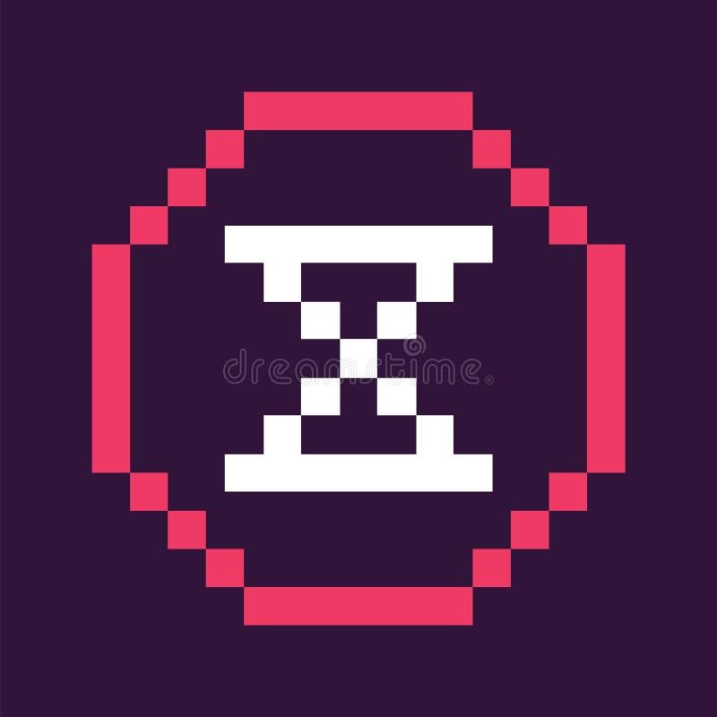 Icône en verre de temps d'heure dans jeu de style de pixel le rétro illustration libre de droits