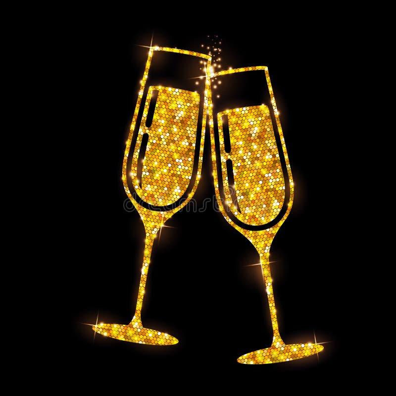 Icône en verre de vecteur de Champagne Verres d'or de champagne d'étincelle illustration stock