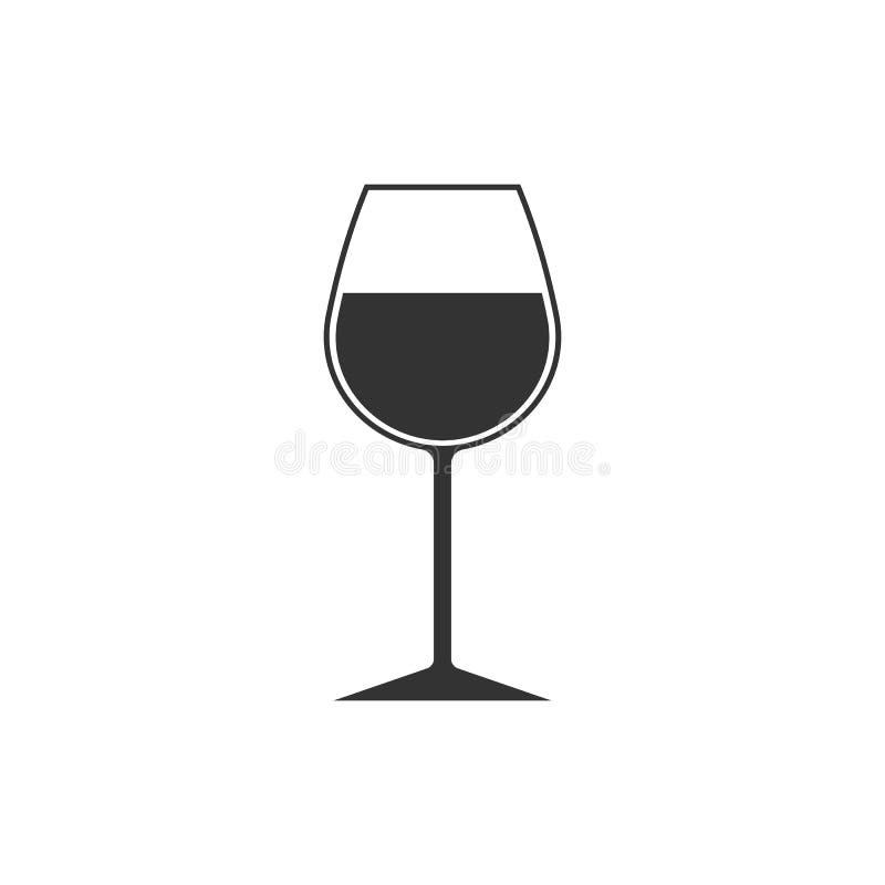 Icône en verre de vin Symbole de gobelet Illustration de vecteur Conception plate illustration stock