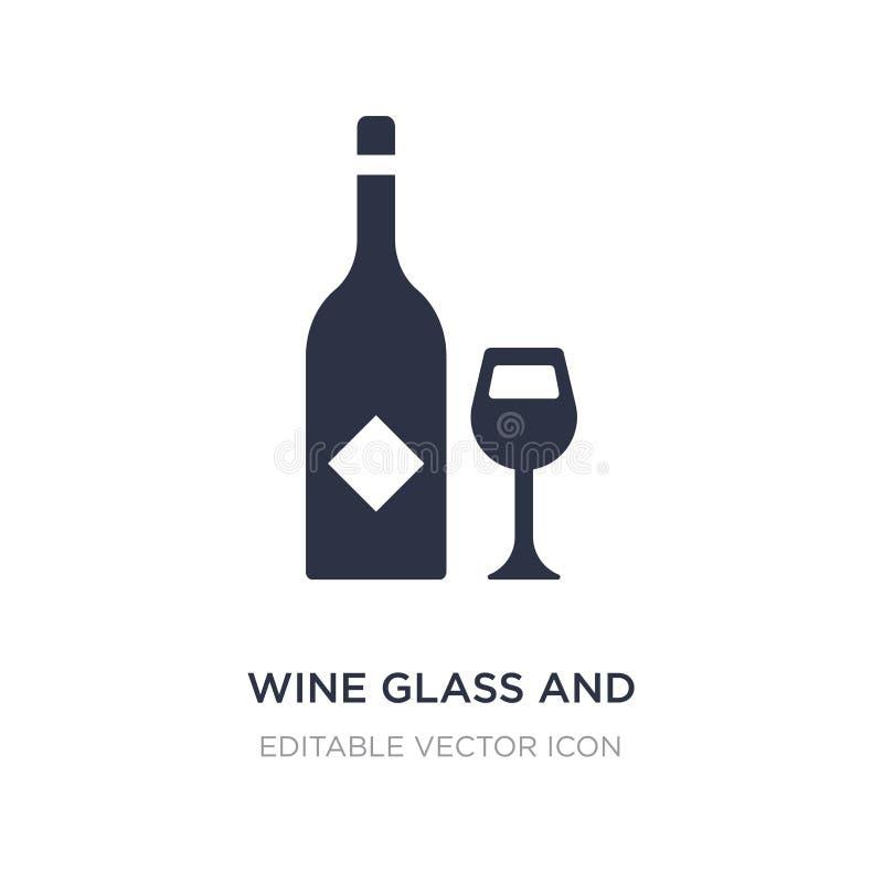 icône en verre et de bouteille de vin sur le fond blanc Illustration simple d'élément de concept de nourriture illustration libre de droits