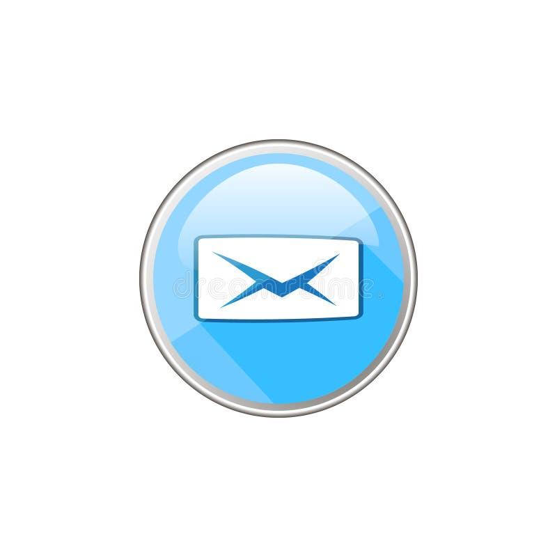Icône en verre ronde de vecteur simple de lettre fermée illustration de vecteur