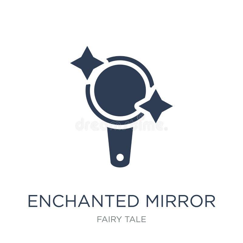 Icône enchantée de miroir Icône de miroir enchantée par vecteur plat à la mode illustration libre de droits