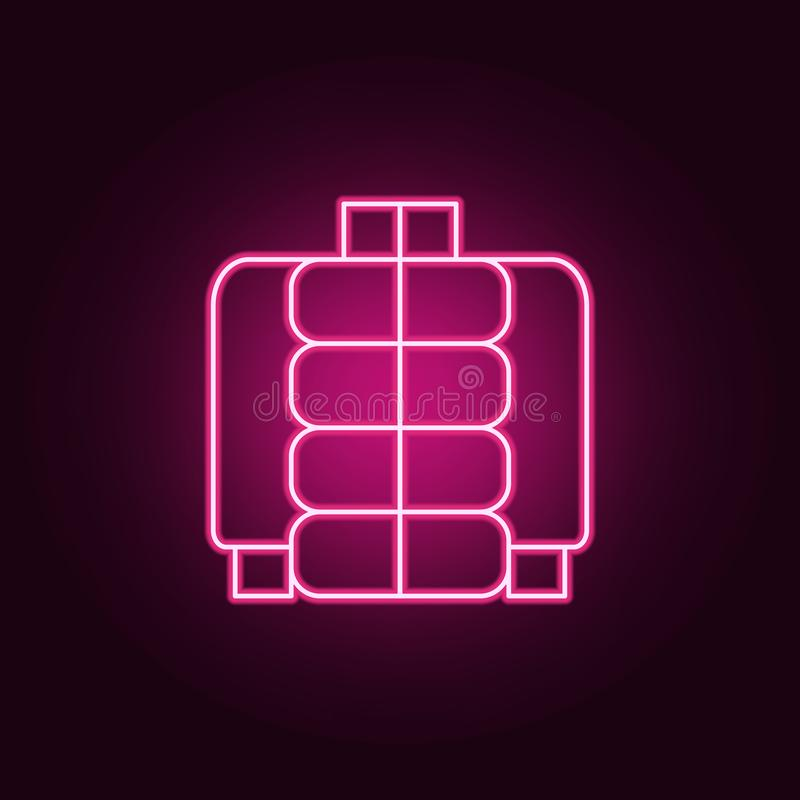 icône enflée de veste Éléments des vêtements dans les icônes au néon de style E illustration stock