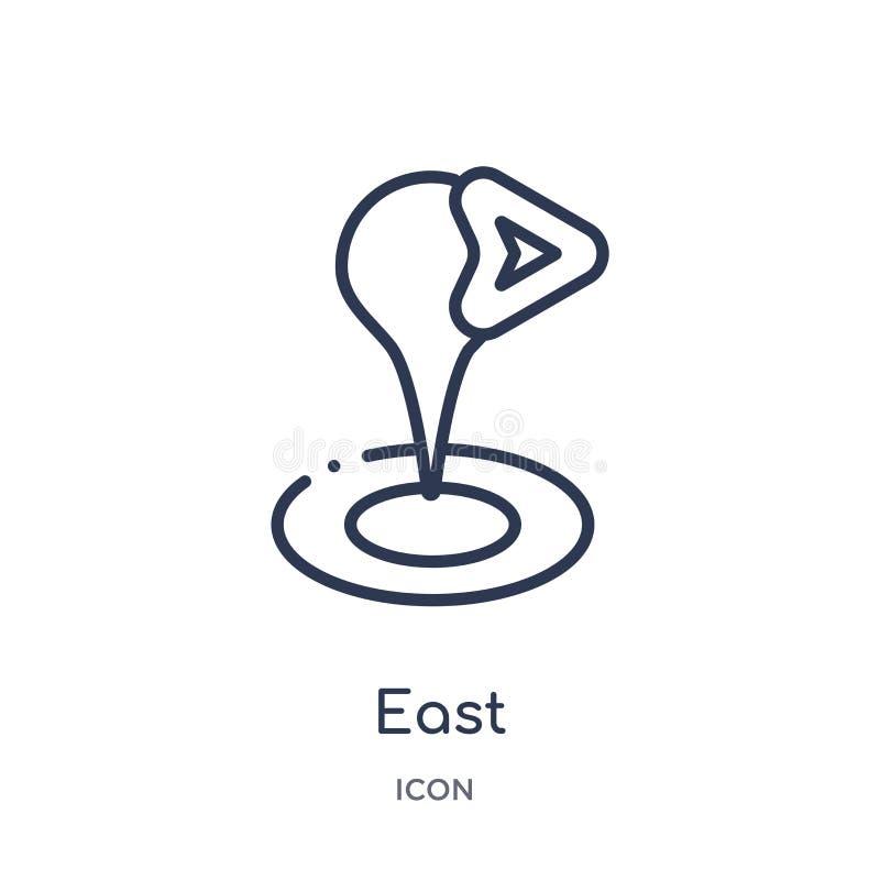 Icône est linéaire de collection d'ensemble de cartes et d'emplacements Ligne mince icône est d'isolement sur le fond blanc à la  illustration stock