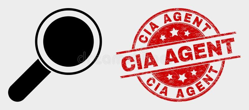 Icône et agent de la CIA rayé Stamp d'outil de loupe de vecteur illustration stock