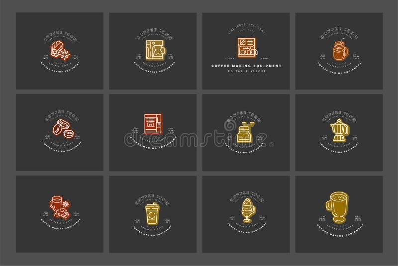 Icône et logo de vecteur pour l'équipement à café Taille Editable de course d'ensemble Ligne découpe plate, mince et linéaire illustration libre de droits