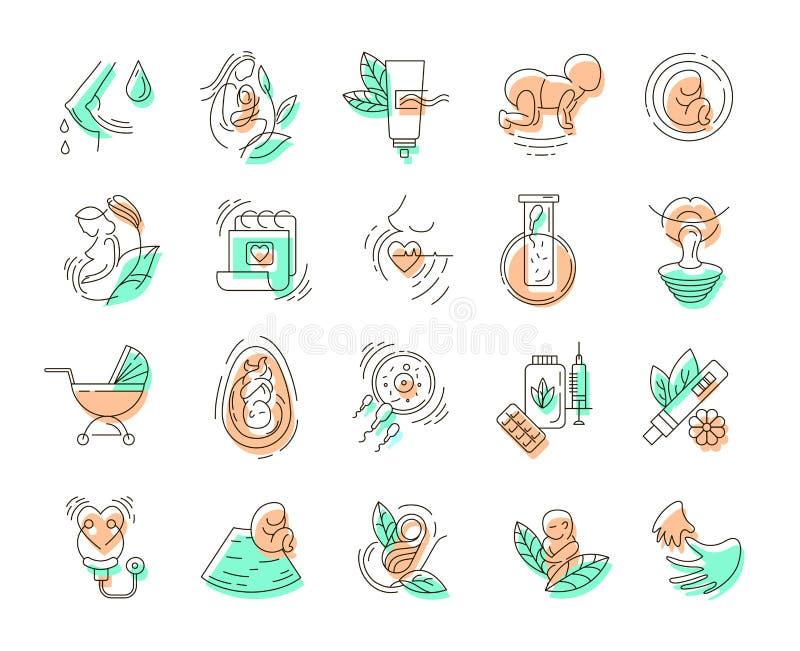 Icône et logo de vecteur pour le pegnancy et la gynécologie illustration libre de droits